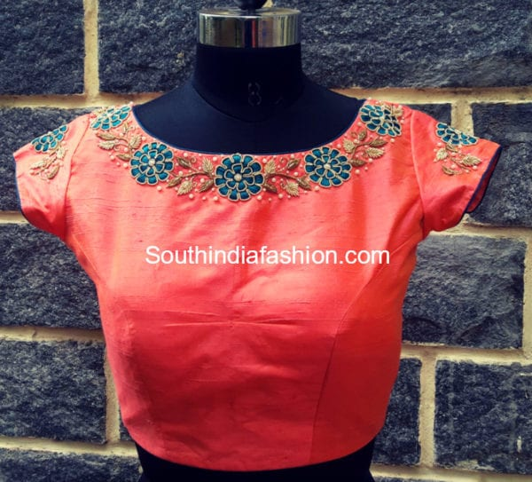 floral embroidered blouse design