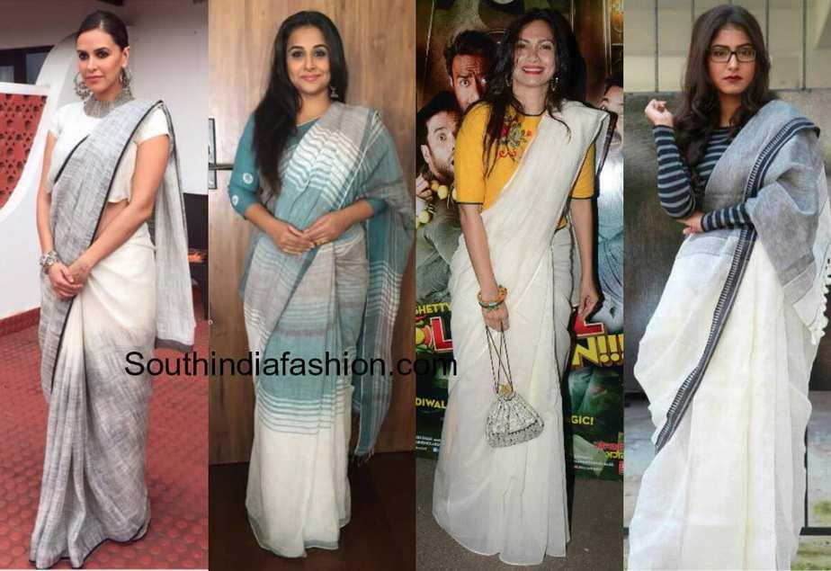 celebs in linen sarees