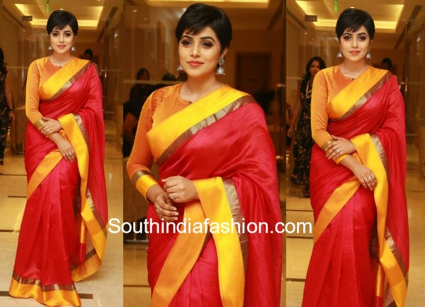 poorna in red and orange silk saree
