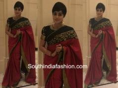 actress poorna silk saree and puff sleeves blouse