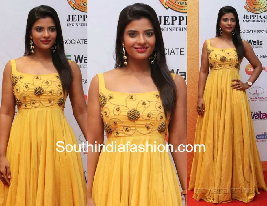 aishwarya rajesh in yellow maxi gown