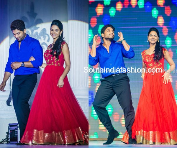 sneha reddy and allu arjun at sangeet