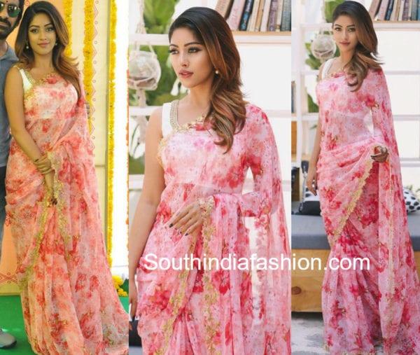 anu emmaneul in ashwini reddy floral saree