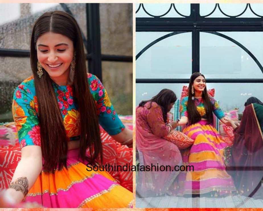 Mehndi Bridal Lehnga : Anushka sharma mehndi dress