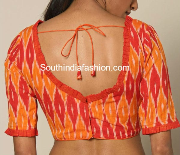 ikkat cotton blouse back neck designs
