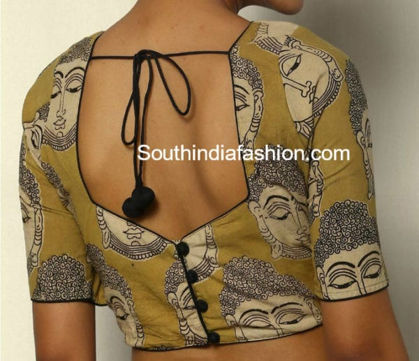 kalamkari blouse back neck designs