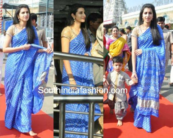 nara brahmani blue saree