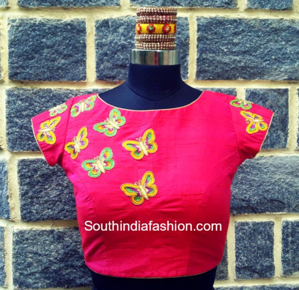 butterfly embroidered blouse