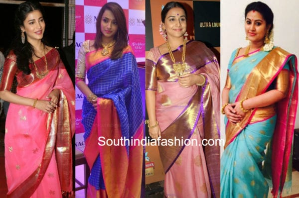 celebrities in kanchi organza sarees