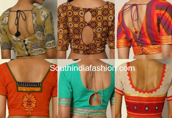 cotton saree blouse back neck designs
