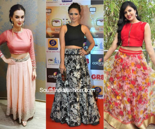 tops with indian ethnic long skirts