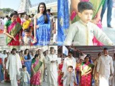 Chandrababu Naidu with family at Tirumala Tirupati devansh birthday