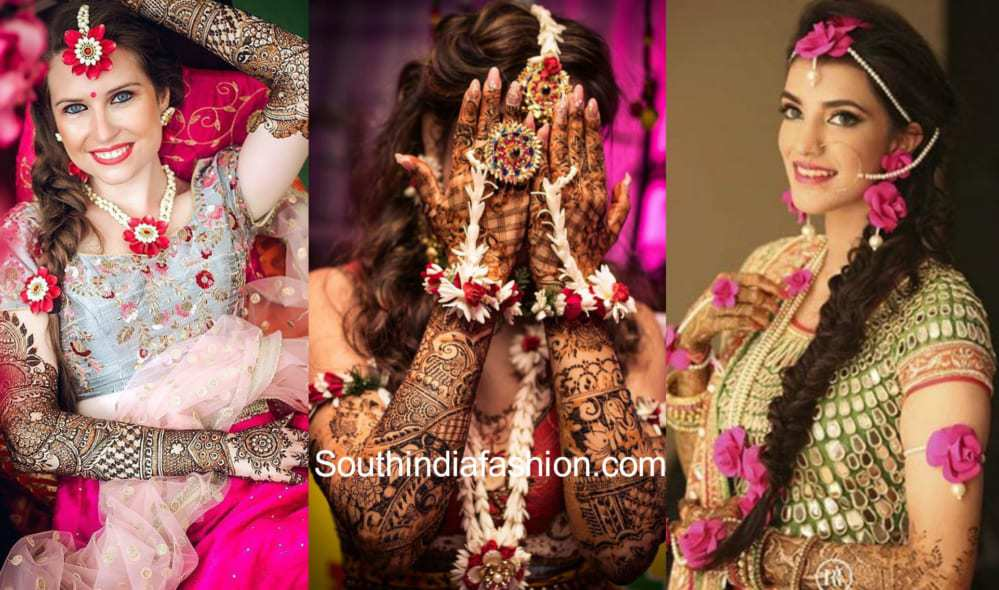 Mehndi Hairstyles For Brides : Best mehndi outfits jewellery and hairstyles for brides