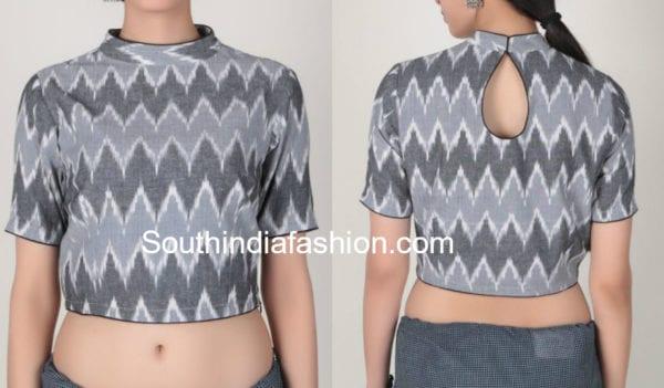 high neck blouse design for cotton sarees