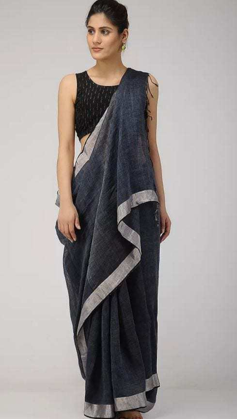 350f41fbe754b Ritu Varma in a grey linen saree and ikat blouse – South India Fashion