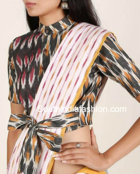 ikat blouse with front bow