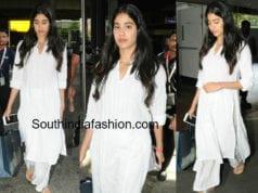 janhvi kapoor airport white palazzo suit