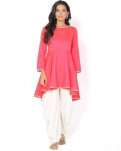 Pink Peplum Kurta and Dhoti Pant Set