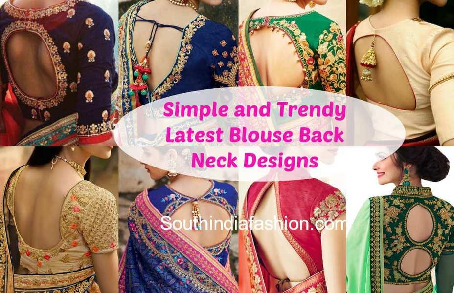 Blouse Back Neck Designs 2018 Stylish Back Neck Blouse Patterns