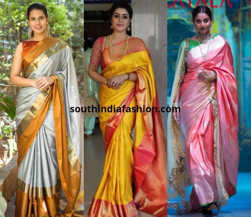 light color pattu sarees combinations
