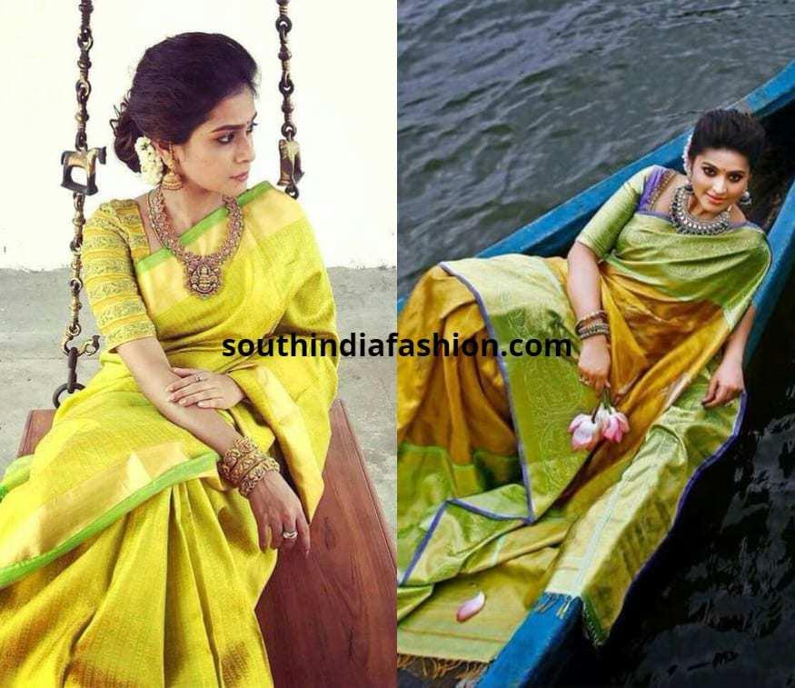 light color pattu sarees by celebs
