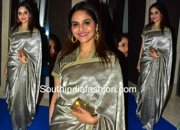 madhoo shah in silver saree at hello hall of fame awards 2018