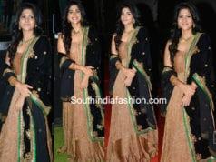Mehgha Akash gold dress in chal Mohanaranga pre Release event
