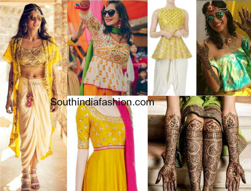 Mehndi Function Dresses : Best mehndi outfits jewellery and hairstyles for brides