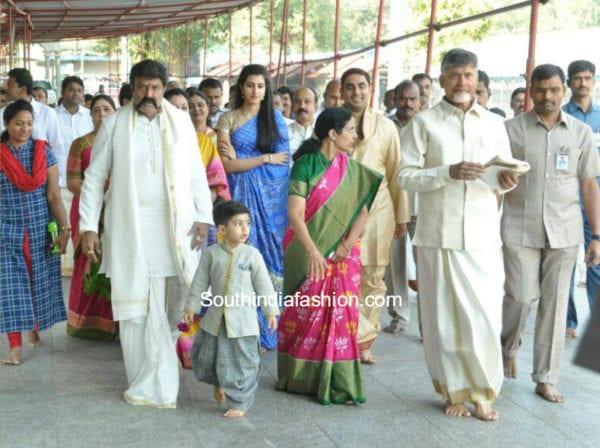 Chandrababu Naidu with family at Tirumala Tirupati