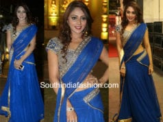 natasha doshi blue half saree at c kalyan son wedding