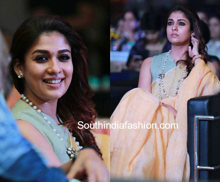 Nayanthara In A Linen Saree At The Hindu World Of Women 2018 South