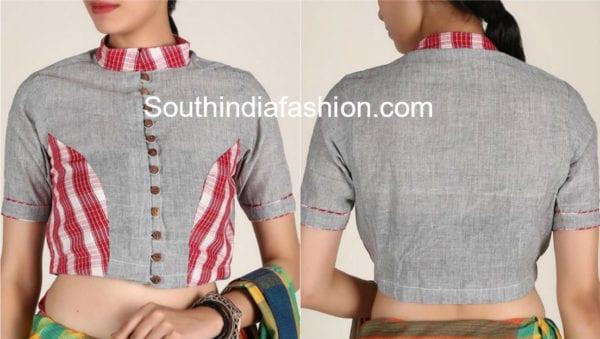 high neck blouse designs for cotton sarees