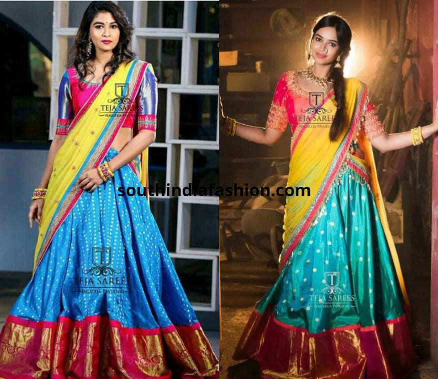 blue and pink pattu hallf sarees