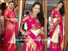pritha hari pattu saree at keerthana parthiban wedding