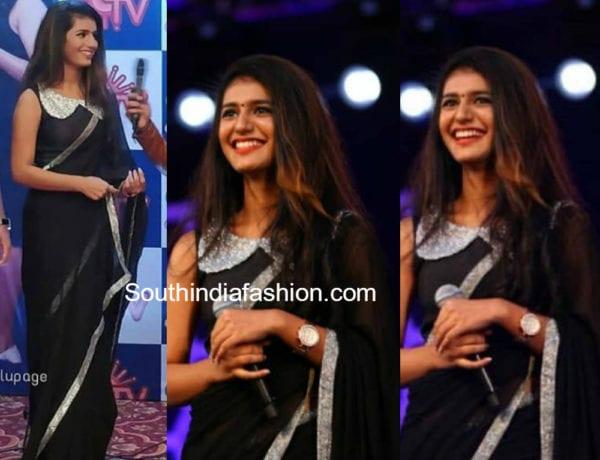 priya prakash varrier black saree super singer