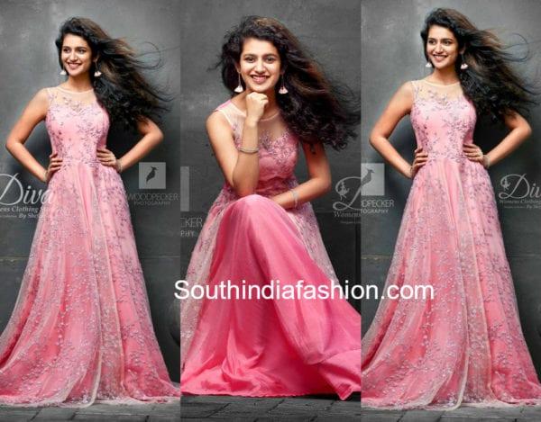 priya prakash varrier in pink gown