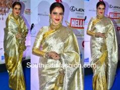 rekha in gold kanjeevaram pattu saree at hello hall of fame awards 2018
