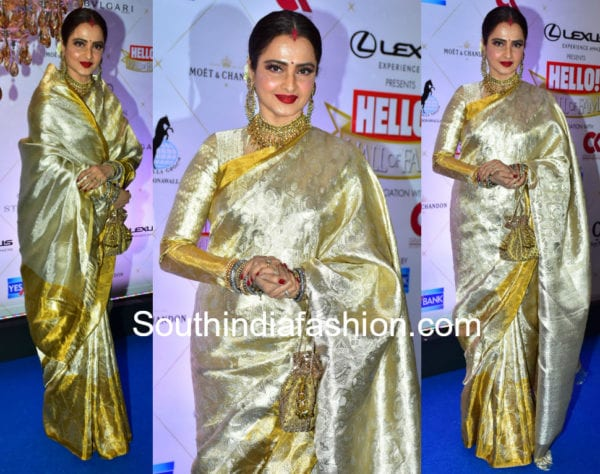 rekha in gold kanjeevaram pattu saree at hello hall of fame awards 2018