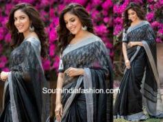 ritu varma grey linen saree ikat blouse