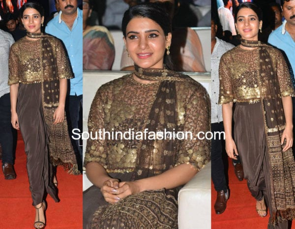 samantha akkineni dress in rangasthalam pre release function