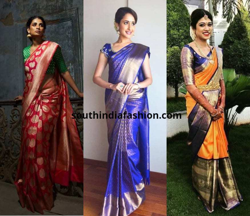 different types of saree draping images