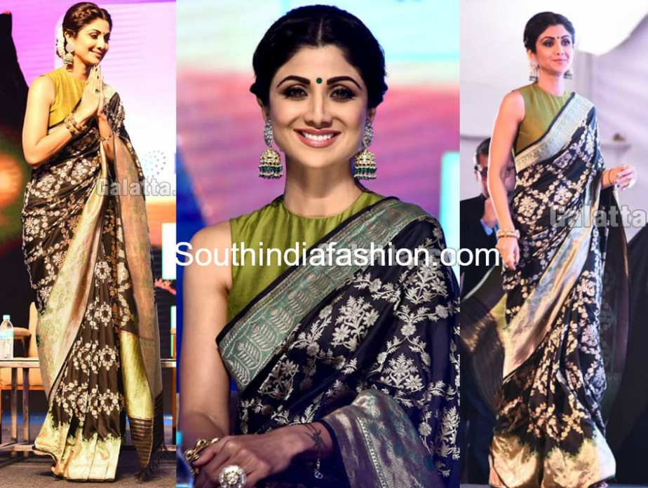 shilpa shetty banarasi silk saree