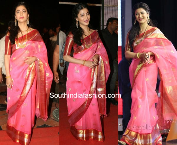 shruti haasan in kanchi organza saree
