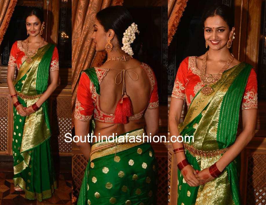 shubra aiyappa green banaras silk saree