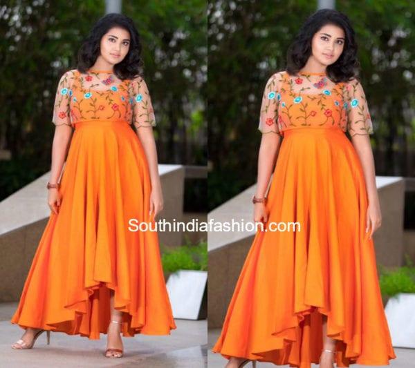anupama parameswaran orange gown with cape