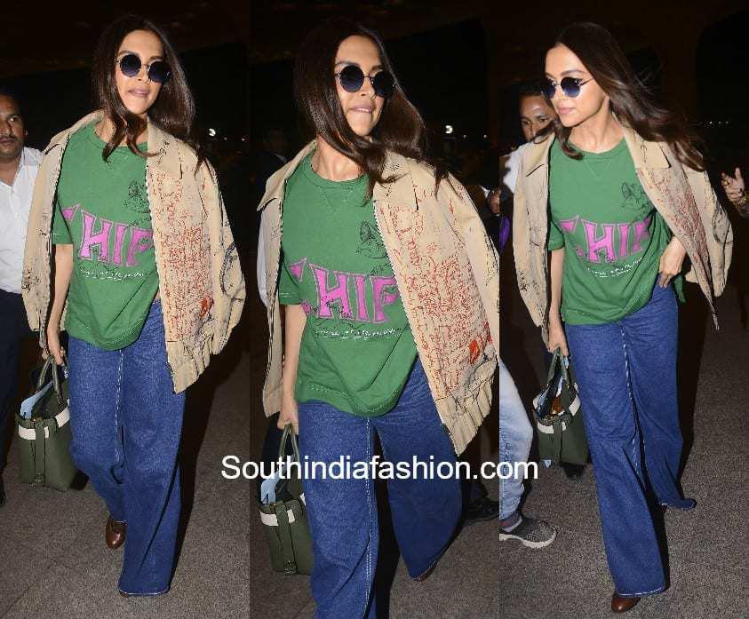 Deepika Padukone in Burberry at the airport