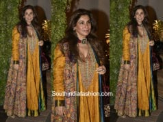 Dimple Kapadia in a layered gown at Saudamini Mettu's wedding reception
