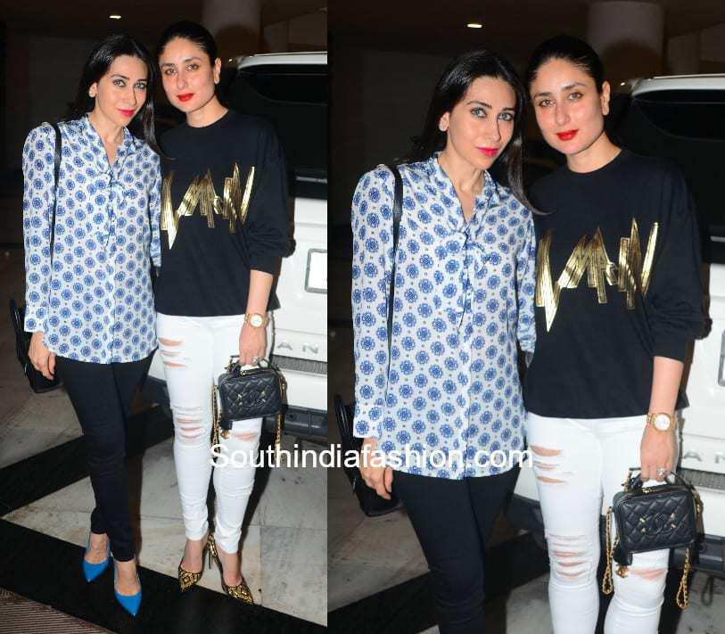 Karishma Kapoor and Kareena Kapoor in western wear at Manish Malhotra's home