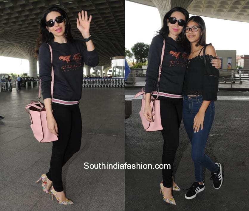 Karishma Kapoor with daughter Samaira at the airport