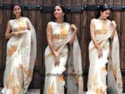 Lavanya Tripathi in Picchika saree for her new film muhurat poojaLavanya Tripathi in Picchika saree for her new film muhurat pooja